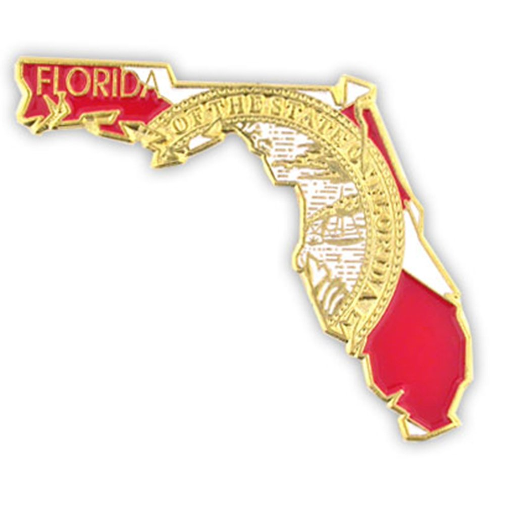 PinMart's State Shape of Florida Pin and Florida Flag Lapel Pin 1-1/4''