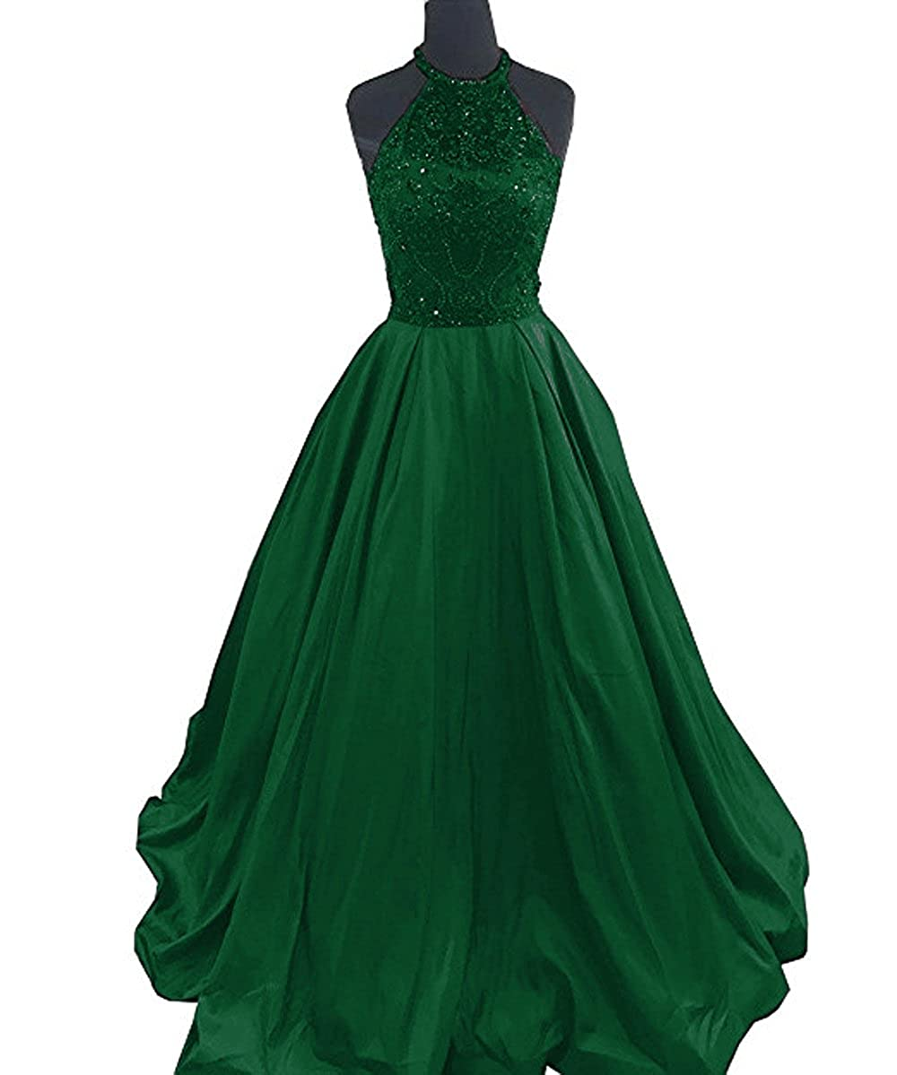 Dark Green Lnxianee Women's Halter Beaded Prom Dresses Long Formal Satin Party Evening Gowns