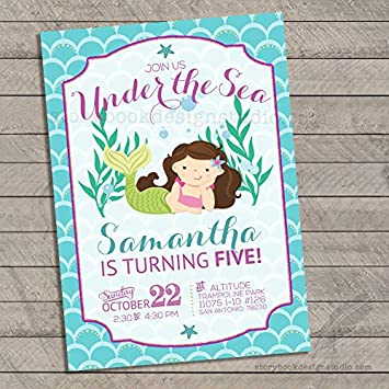 Image Unavailable Not Available For Color Mermaid Birthday Invitations