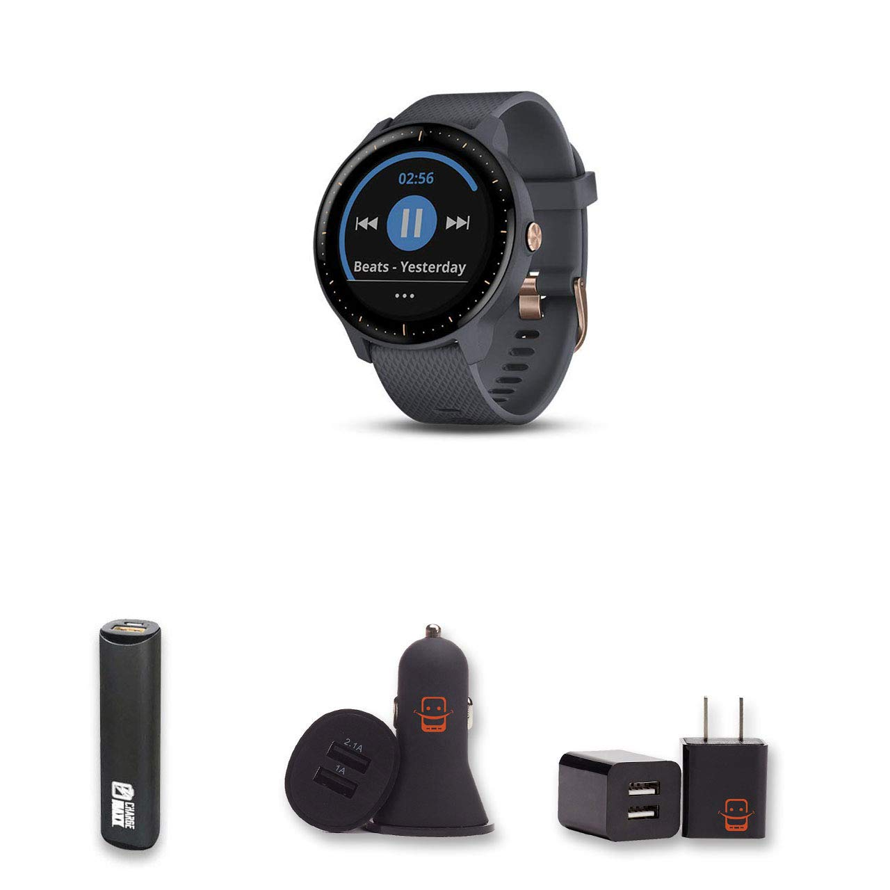 Garmin Vivoactive 3 Music (Granite Blue/Rose Gold) GPS Smartwatch Bundle with PowerBank + USB Car Charger + USB Wall Charger (4 Items) by E Zee Electronics (Image #1)