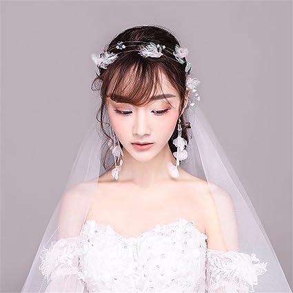 MultiKing tocado de novia Tocado de novia Sen Xian vestido de novia coreano estrellas plumas súper