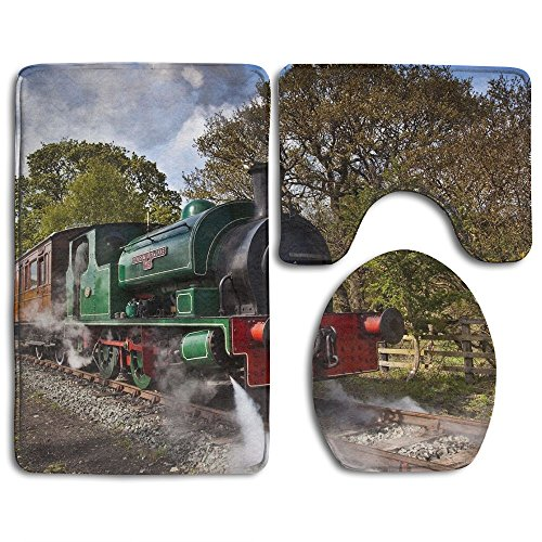 Huayaa Bathroom Non-Skid Carpet Bath Rugs 3 Pieces Set Water-Absorbing Old Steam Engine Flannel Toilet Floor Bath Mats Contour Rug Lid Cover