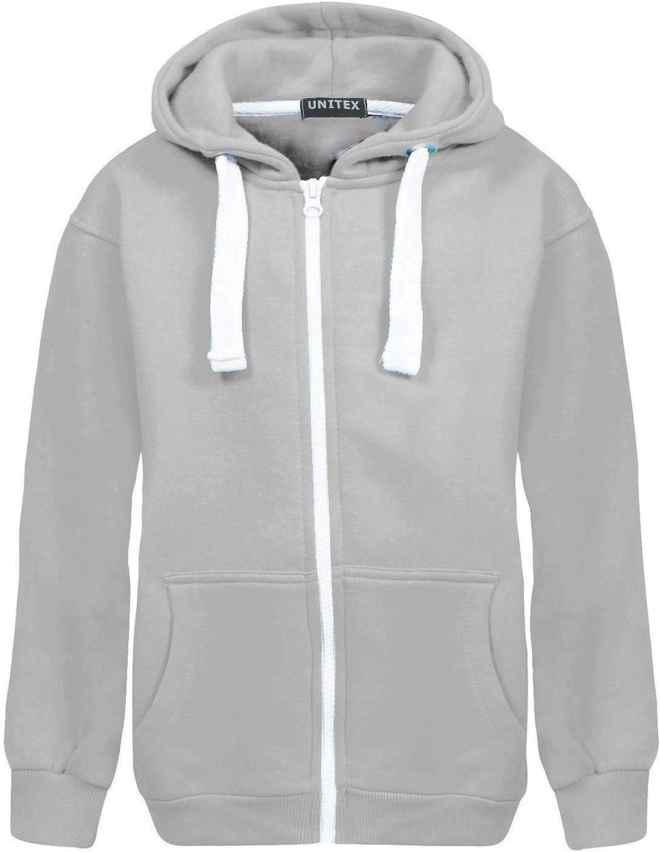 UNITEX /® New Girls Boys Kids Plain Fleece Hooded Zip Jacket Hoodies 7 to 13 Years