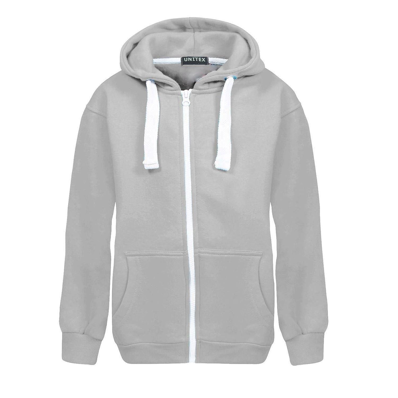 UNITEX Kids Girls Boys Unisex Plain Fleece Hooded Zip Jacket Hoodies