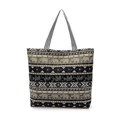 Women Canvas Shopping Tote Elephant Printed Handbag Zipper Large Bag