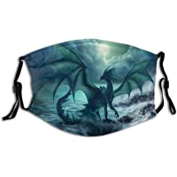 Dark Dragon Skull Dragons Face Mask Washable with 2 Pcs Filters, Reusable Cool Flying Beast Scarf With Pocket for Women…