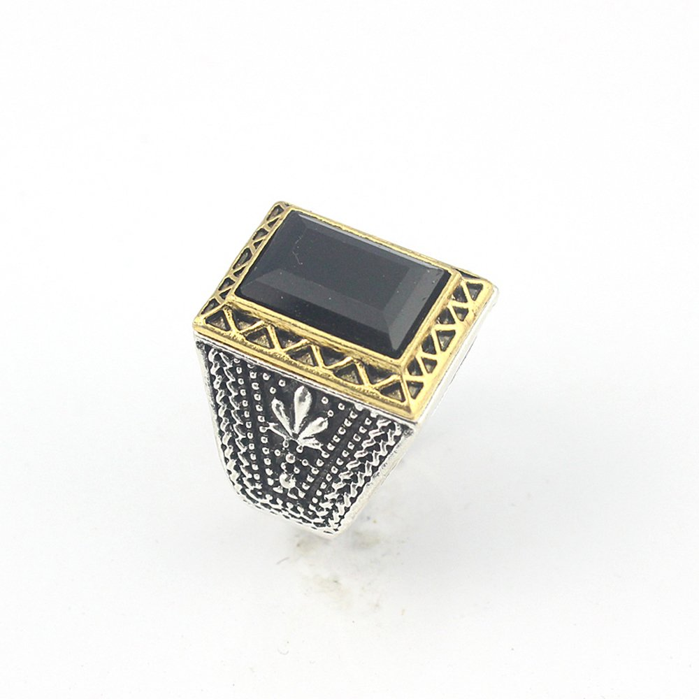 HIGH STONE BLACK QUARTZ FASHION JEWELRY SILVER PLATED AND BRASS RING 9 S23200