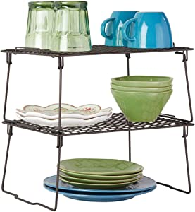 mDesign Metal Stacking Storage Shelf - 2 Tier Raised Food and Kitchen Organizer for Cabinets, Pantry Shelves, Countertops, 2 Pack - Bronze
