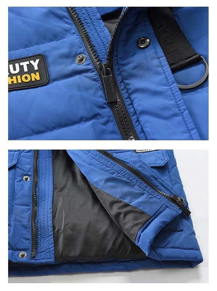 LISUEYNE Boys Kids Winter Hooded Down Coat Puffer Jacket for Big Boys Mid-Long Royal-Blue, 14//16