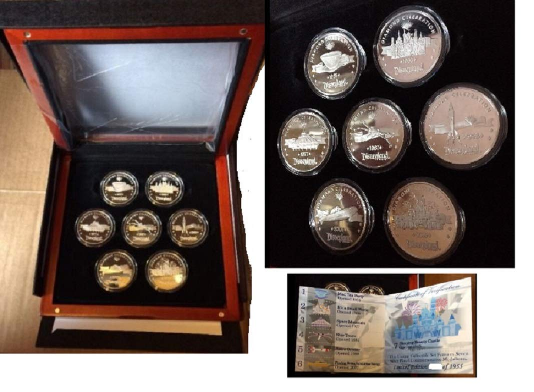 Disneyland Diamond Celebration Limited Edition 7 Medallions Coin Collection 2015