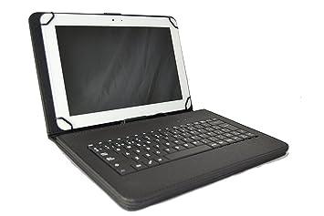 Funda con Teclado QWERTY en español (Incluye Letra Ñ) para Tablet Bq Aquaris M10