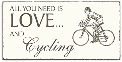 Placa decorativa, « All You Need is Love And Cycling » placa para ...