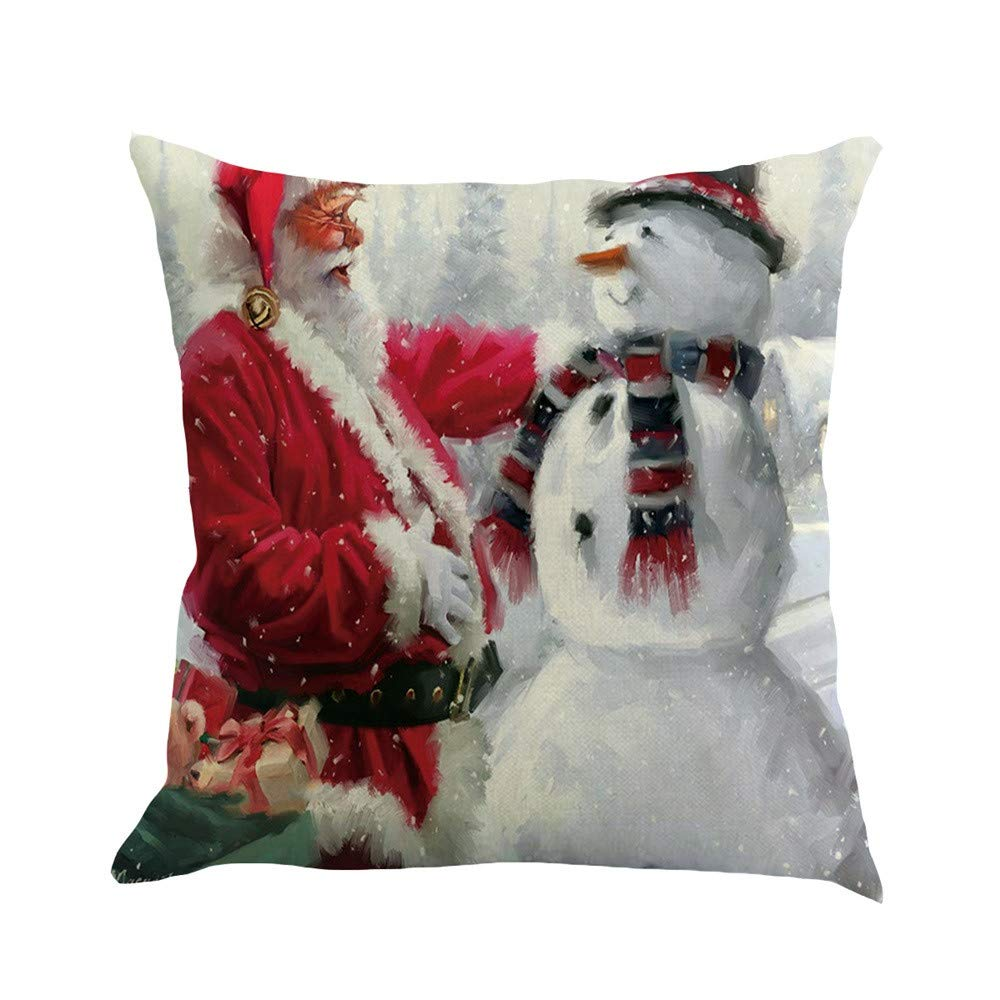 Pgojuni Christmas Flax Sofa Car Home Waist Cushion Cover Throw Pillow Cover Sofa/Couch 1pc (B)