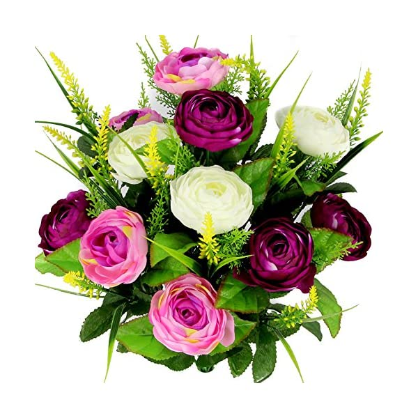 Admired By Nature 22 Stems Artificial Ranunculus & Fillers Mixed Flowers Bush for Home office, Restaurant, Wedding Decoration, Lilac/Orchid/Cream