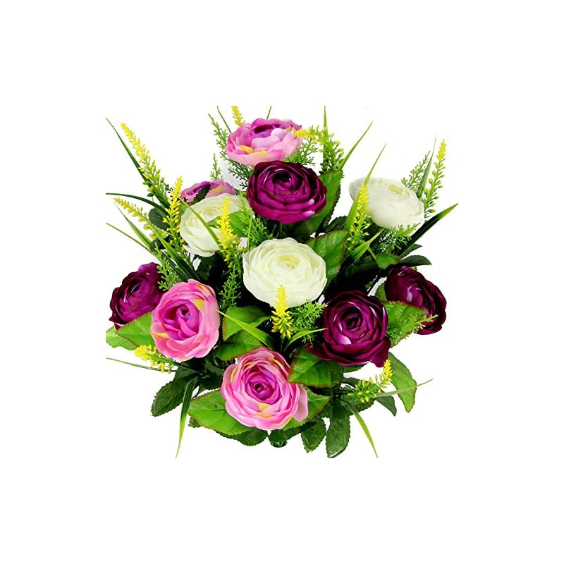 silk flower arrangements admired by nature 22 stems artificial ranunculus & fillers mixed flowers bush for home office, restaurant, wedding decoration, lilac/orchid/cream