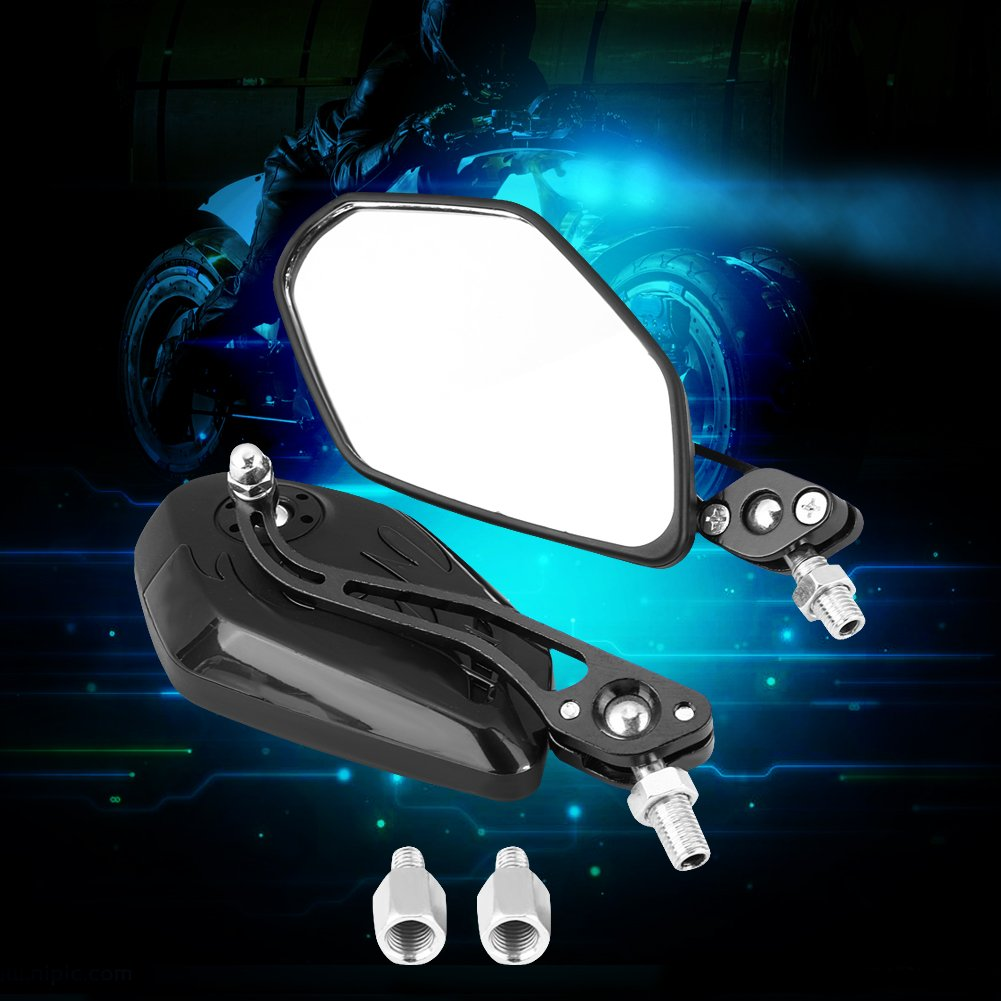 Aramox Rear View Mirrors 8mm Universal Motorcycle Scooter Aluminum Flame Pattern Side Rear View Mirrors Motorcycle Hand Claw Side Rear View Mirrors Carbon Fiber Black 1 Pair