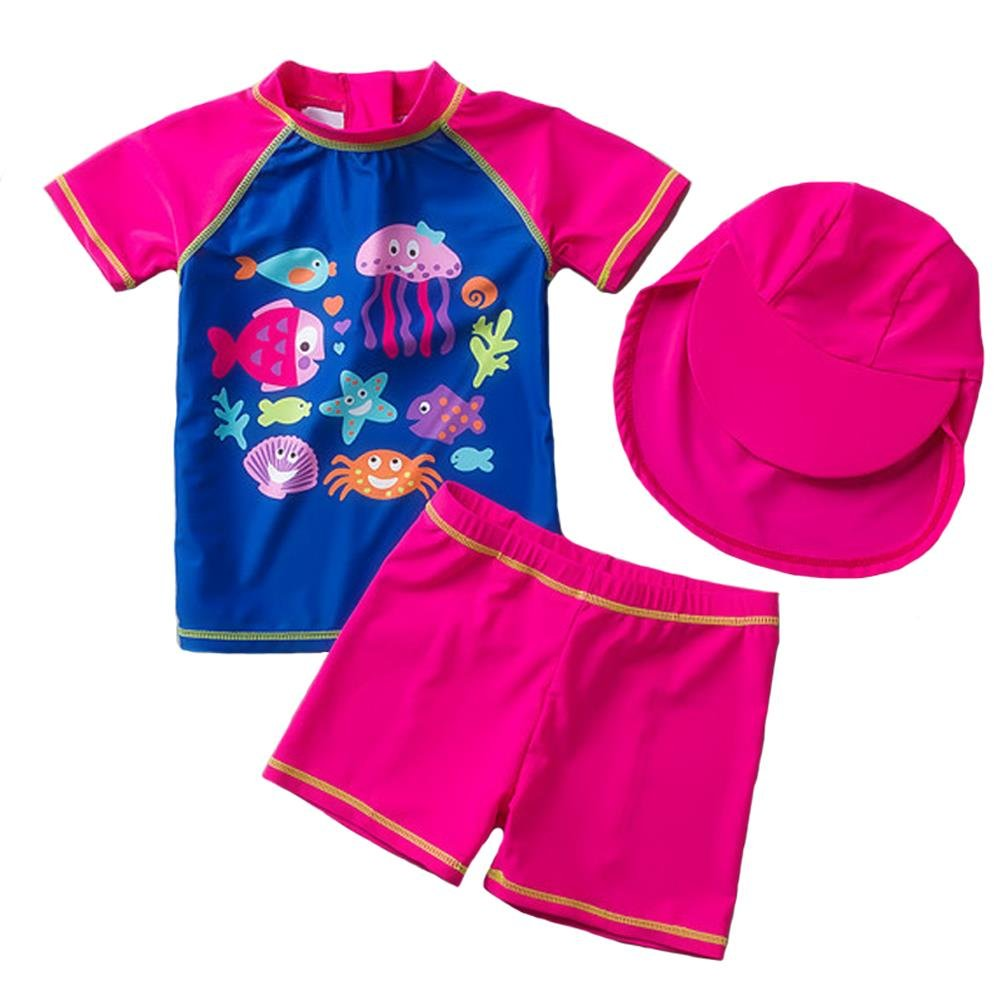 Coralup Little Girls 3-Piece Swim Set UPF 50 Sun Protection Swim Set Ocean World,1-5 Years
