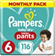 Pampers Baby-Dry Nappy Pants Size 6 Junior, 116 Nappy Pants, 15+kg, Monthly Pack