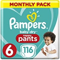 Pampers Baby-Dry Nappy Pants Size 6 Junior (15kg+), 116 Nappy Pants, Monthly Pack