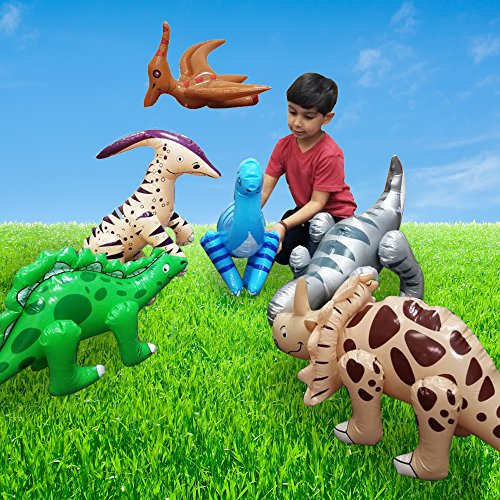 Fun Central BC545 Pack of 6 pcs, 24 Inch Inflatable Dinosaur