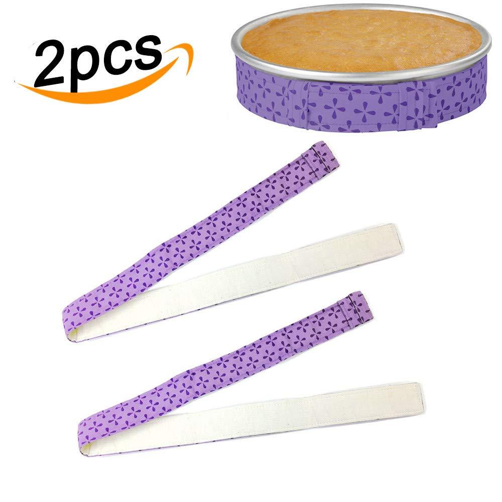 Bake Even Cake Strips, Baking Tin Wraps Absorbent Cake Pan Strip Belt Cake Baking Tool (2pcs, Purple) YMero