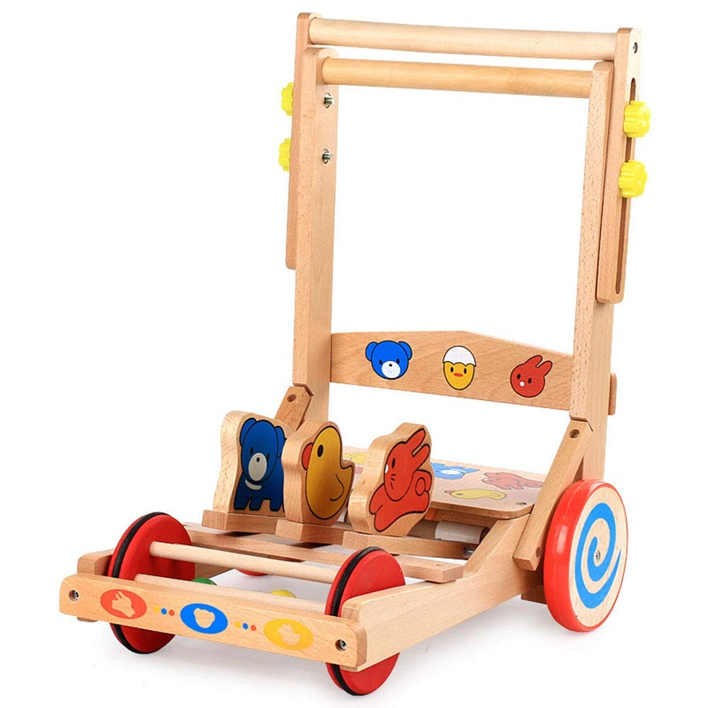 Ybriefbag-Toys Baby Three-in-one Activity Walker Wooden Adjustable Speed Folding Baby Walker Children Multifunctional Wooden Baby Trolley 1-3 Years Old (Color : Wood, Size : 503938.5CM)