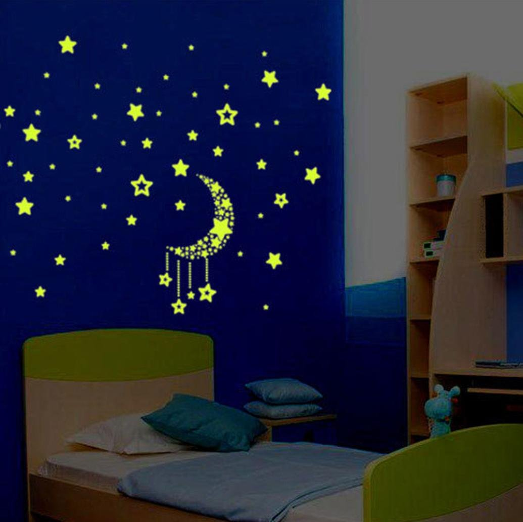 Pocciol Wall Sticker, A Set Kids Bedroom Fluorescent Glow in The Dark Stars Lovely Wall Stickers (Blue)