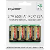 Arlo Certified: Tenergy 650mAh 3.7V Li-ion Rechargeable Battery for Arlo Security Cameras (VMC3030/VMK3200/VMS3330/3430/3530) RCR123A Batteries UL UN Certified 4 Pack