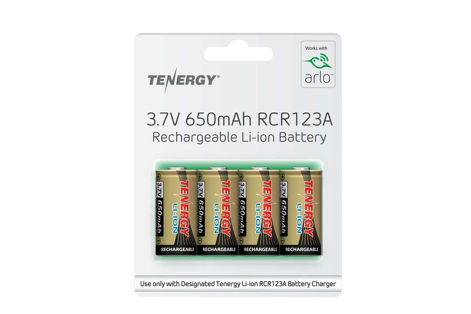 Arlo Certified: Tenergy 3.7V Li-ion Rechargeable Battery for Arlo Security Cameras (VMC3030/VMK3200/VMS3330/3430/3530) 650mAh RCR123A UL UN Certified 4 Pack by Tenergy