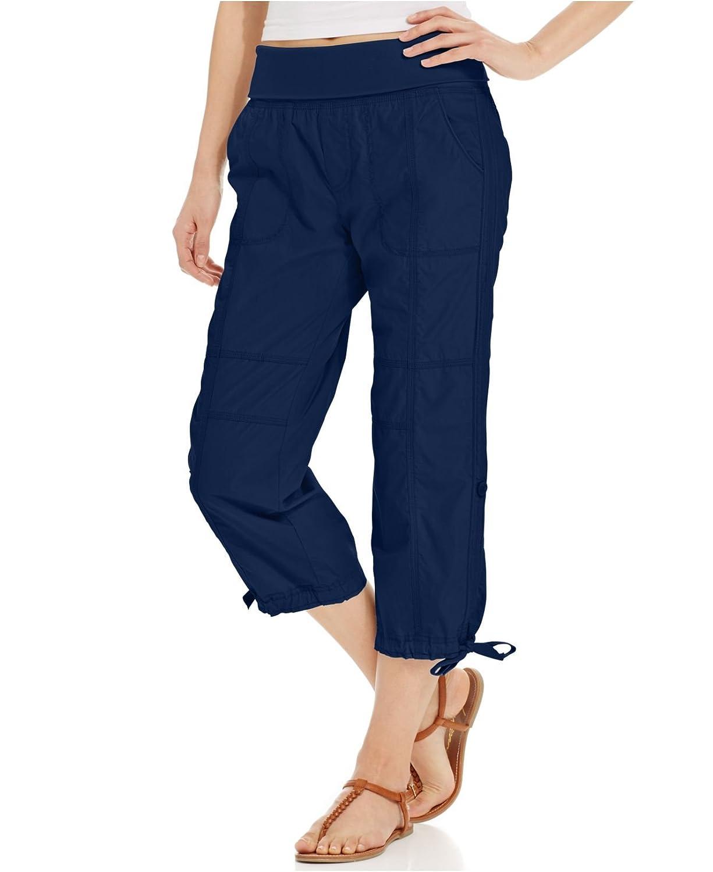 Calvin klein Women Cotton Capri Pants Navy, Medium
