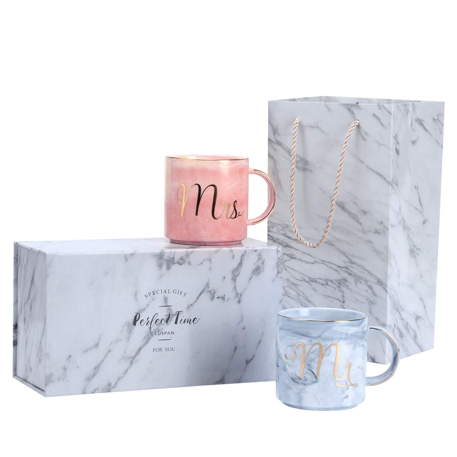 Luspan Engagement Wedding Bridal Shower and anniversary Couple Gifts - Mr and Mrs Couples Coffee Mugs - Ceramic Marble Cups 13 oz - Packaged with Marble Gift Box and Marble Gift Bag