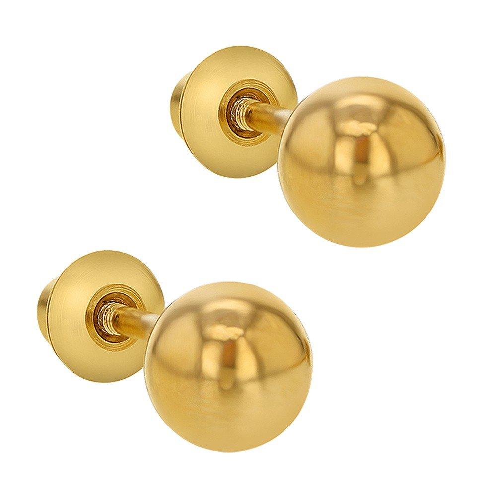 Boucles doreilles In Season Jewelry Plaqu/é or 18k Coeur Uni B/éb/é Enfants Tiges poussettes s/écurit/é /à vis