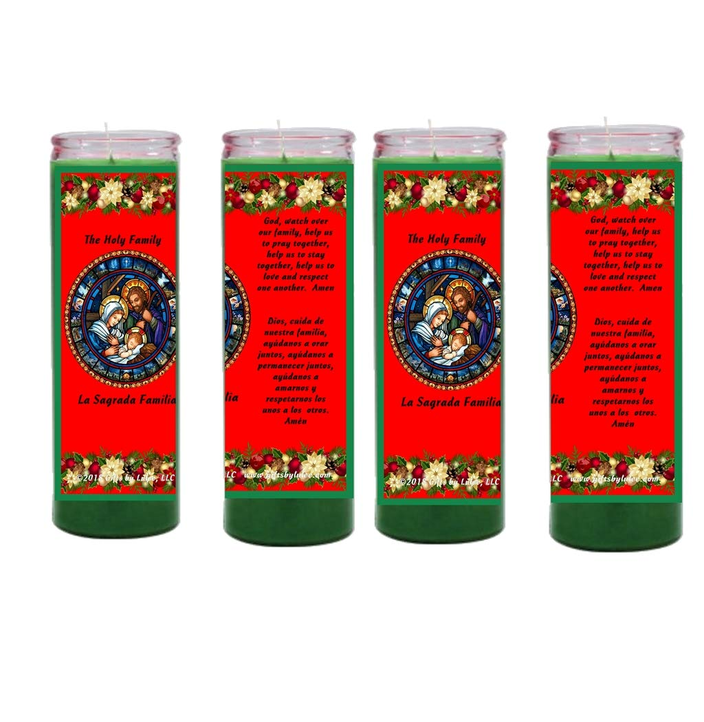 Gifts by Lulee, LLC Christmas Candles The Holy Family Set of Two or Four Glass Candles Available in Green or Red (Green-4)