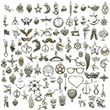 100g (about 100pcs) Craft Supplies Small Antique Silver Charms Pendants for Crafting, Jewelry Findings Making Accessory For DIY Necklace Bracelet (Antique Silver Charms)