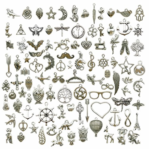 100g (about 100pcs) Craft Supplies Small Antique Silver Charms Pendants for Crafting, Jewelry Findings Making Accessory For DIY Necklace Bracelet (Antique Silver Charms) Antique Silver Tree Pendant