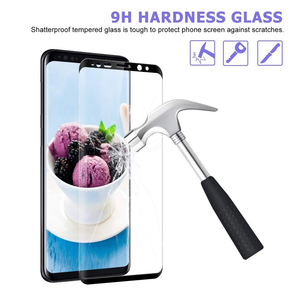 Protection ecran Samsung S8 en Verre Tremp/é /écran Protecteur vitre Bulle sans Ventdest Verre Tremp/é Samsung Galaxy S8 Protection ecran pour Samsung Galaxy S8 2 Pi/èces Coque Compatible