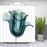 Lileihao Tulip Shower Curtain X-ray Flower Plant Bathroom Decor Floral Shower Curtains Sets Waterproof Polyester Fabric Machine Washable Bath Accessories 69 x 70 Inch with Hook