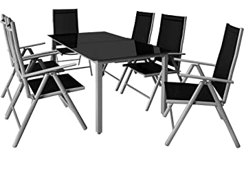 Deuba | Salon de Jardin 6+1 • Bern • 1 Table, 6 chaises • Aluminium ...