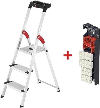Hailo 3 – 8 peldaños de aluminio XXL con bandeja multifuncional Escalera de seguridad y Incluye Cambio pies Living: Amazon.es: Bricolaje y herramientas
