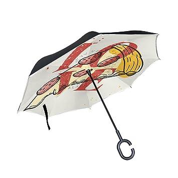 MAILIM - Paraguas Reversible Plegable con diseño de Pizza y Texto en inglés Funny para Uso