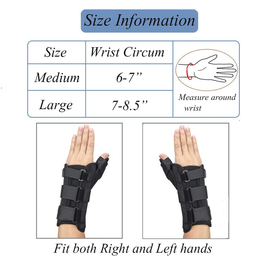 Thumb & Wrist Spica Splint, Adjustable Supportive Wrist Braces for Arthritis, Carpal Tunnel, Soft Tissue Injuries & Trigger Thumb Immobilizer Medium-Left by Medibot (Image #2)