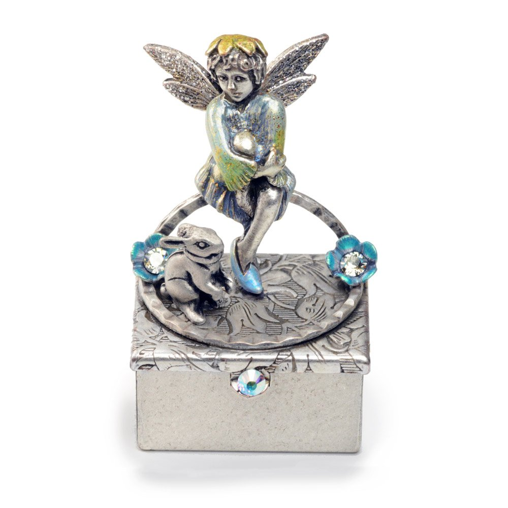 Pixie Fairy Keepsake Box, Miniature Tooth Fairy Box, Trinket Box, Baby Keepsake (Silver)