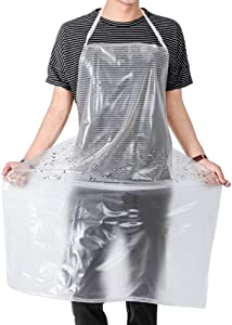 Waterproof Plastic Apron Transparent PVC, Keeps You Clean and Dry When Dishes Washing Kitchen Cooking Lab Work Butcher Dog Grooming Cleaning Fish Unisex 45.3in x 27.5in