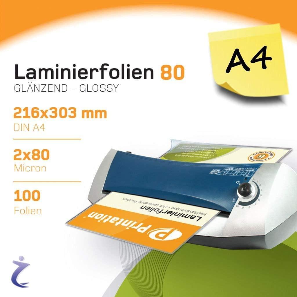100 Unidades de Hojas para plastificar DIN A4 de Printation, 303x 216 mm, 2x80micras, Brillantes, prémium