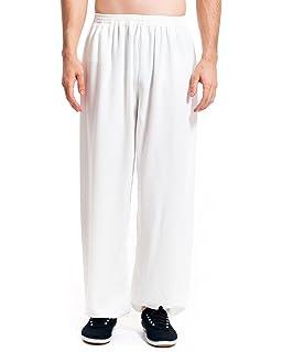 Icnbuys - Pantalones de hombre para Kung Fu, Tai Chi, de algodón y seda