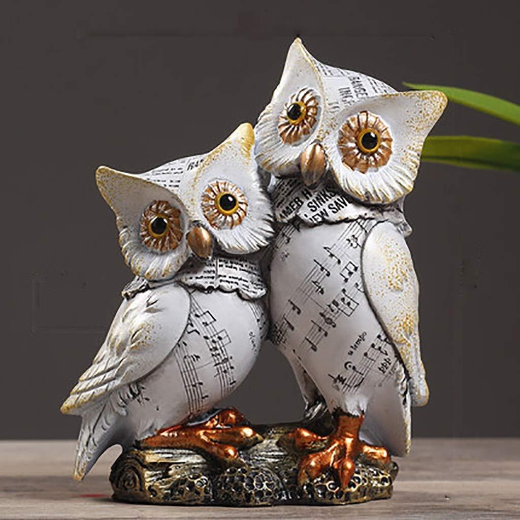 装飾用アクセサリー ワインセットデコレーション家庭用ワインキャビネット装飾柔らかいフクロウは、任意の装飾品の様々なサイズの樹脂製(複数のスタイルをご利用いただけます) (色 : Double English Owl)  Double English Owl B07PBDJGC4