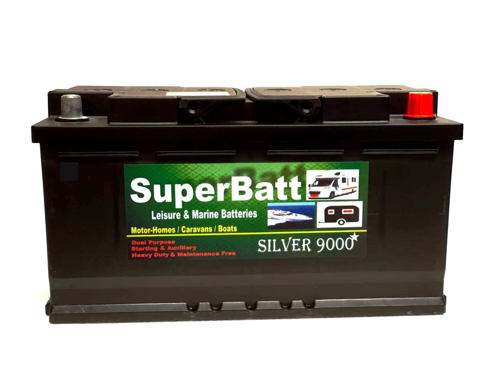 SuperBatt AGM1100 12V 120AH (100AH & 110AH) Heavy Duty Ultra Deep Cycle VRLA AGM Leisure Marine Battery - SAFE & SPILL PROOF - Caravan Motorhome Boat Motor Mover