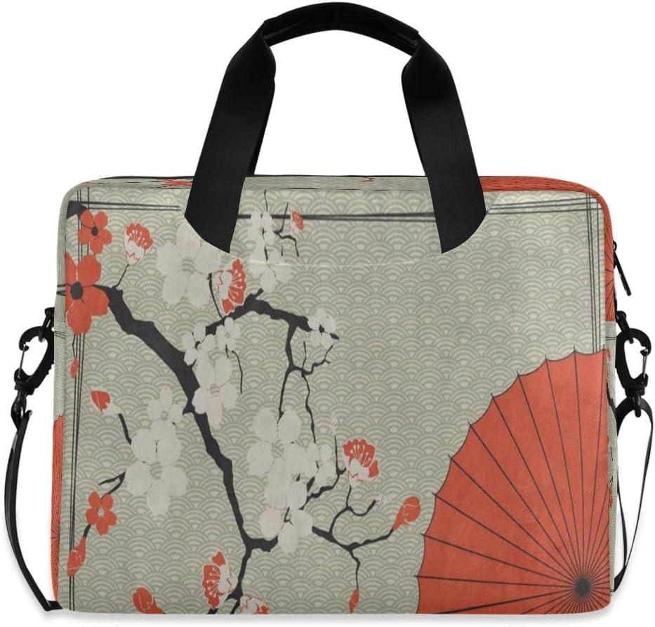 Japanese Umbrella Cherry Sakura Laptop Case 15.6 Inch Carrying Protectiv Case with Strap