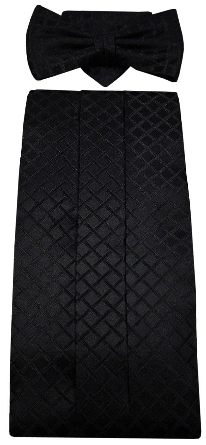G4 Kummerbund Einstecktuch Fliege schwarz 100% Seide gemustert Gr. 85 bis 110 cm