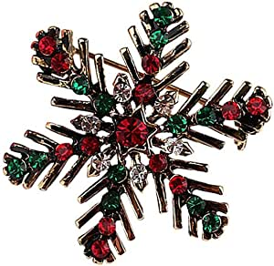 Christmas Wreath Snowflake CZ Brooches for Women Girls Gold Tone Vintage Fashion Colorful Austrian Crystal Red Rhinestones Garland Charm Brooch Pin Dress Accessories Party Jewelry Delicate Unisex Gift